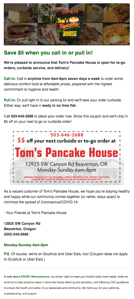 This e-mail blast for Tom's Pancake house achieved a 37.5% open rate with 513 unique opens!